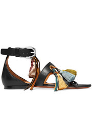 Chloé Tasseled textured-leather and suede sandals