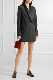 Tibi Wrap-effect satin-trimmed crepe mini dress