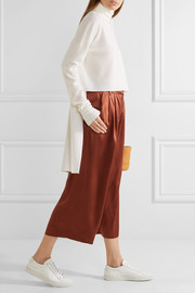 Tibi Asymmetric paneled merino wool and silk-crepe turtleneck sweater
