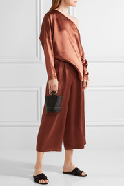 Tibi Pleated silk-satin culottes