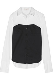 Tibi Two-tone cotton-poplin shirt