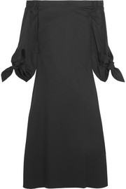Off-the-shoulder cotton-poplin midi dress