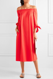Tibi Off-the-shoulder cotton-poplin midi dress