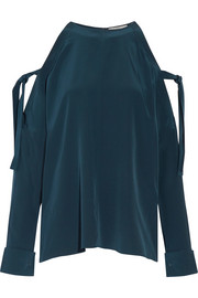 Cutout silk crepe de chine blouse