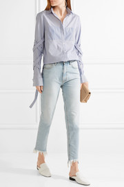 Tibi Striped cotton-poplin shirt