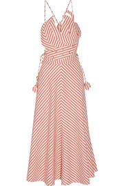 Tutti Frutti appliquéd striped linen and cotton-blend maxi dress