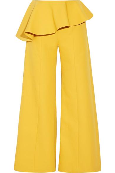 Rosie Assoulin - Bearded Iris Peplum Cotton-twill Wide-leg Pants - Marigold