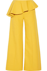 Bearded Iris peplum cotton-twill wide-leg pants