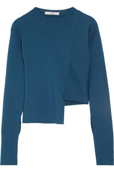 Tibi - Asymmetric Ribbed-knit Sweater - Petrol