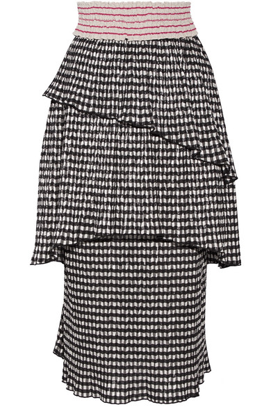 Mountain Range gingham seersucker midi skirt