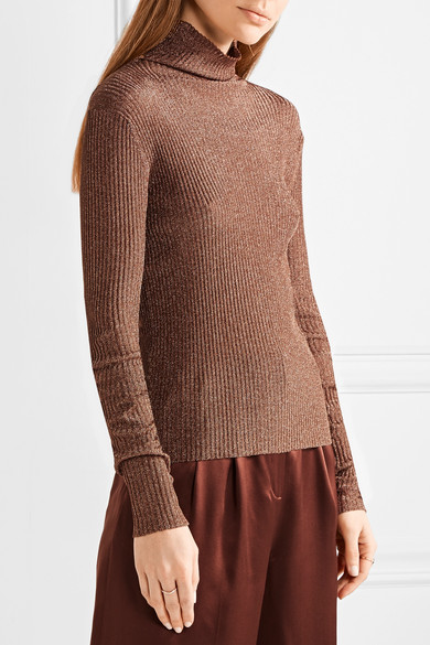 Tibi | Metallic ribbed-knit turtleneck sweater | NET-A-PORTER.COM