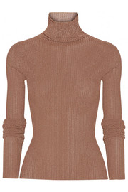 Metallic ribbed-knit turtleneck sweater
