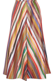 Melted Rainbow embroidered poplin midi skirt