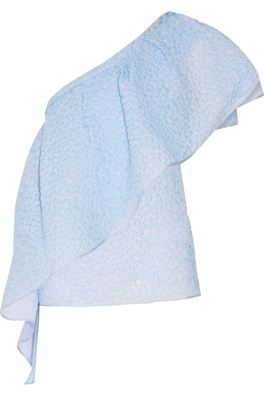 Rosie Assoulin Wedge one-shoulder ruffled seersucker top