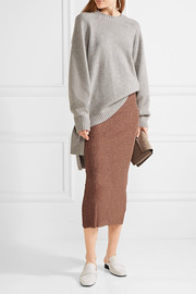 Tibi Metallic ribbed-knit midi skirt