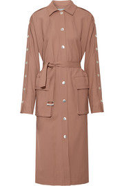Embellished satin-twill trench coat