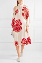 Tibi Orla cold-shoulder printed silk-crepe midi dress