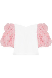 Morel ruffled gauze-trimmed cotton top