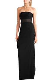 Nicole strapless mesh-paneled crepe maxi dress