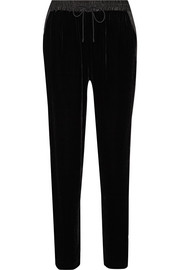 Elizabeth and James Collier satin-trimmed velvet track pants