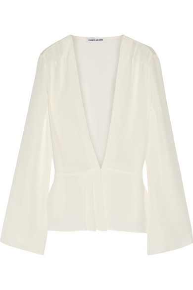 Elizabeth and James - Layla Pleated Georgette Wrap Blouse - Ivory