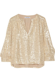 Elizabeth and James Shelley metallic fil coupe silk-blend blouse