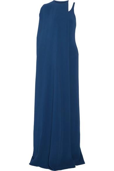 Stella McCartney - Mirabella Cape-effect Stretch-cady Gown - Cobalt blue