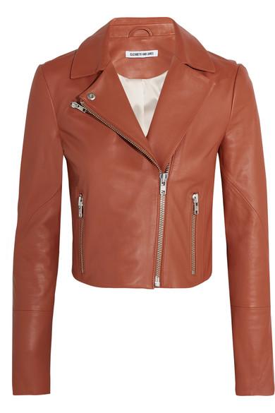 Elizabeth and James - Gigi Cropped Leather Biker Jacket - Camel