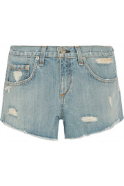 Boyfriend studded distressed denim shorts