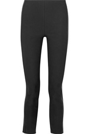Dani leather-paneled stretch cotton-blend skinny pants
