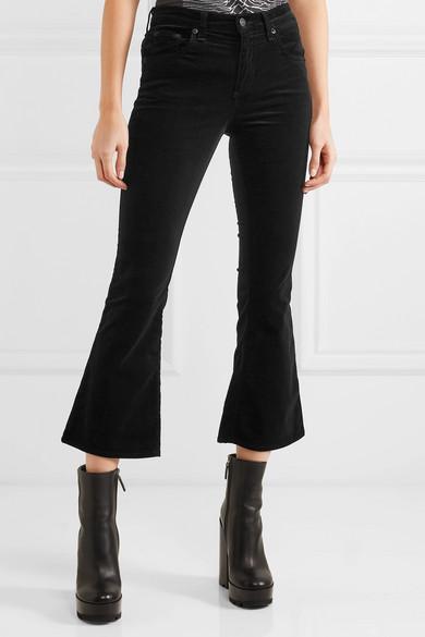 rag & bone | Cropped velvet mid-rise flared jeans | NET-A-PORTER.COM