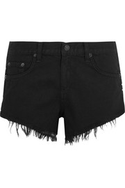 Cut-off studded denim shorts
