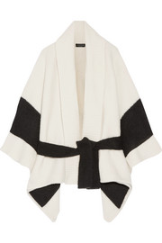 Britton striped merino wool-blend cape
