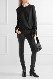 rag & bone Max wrap-effect satin-trimmed silk crepe de chine blouse