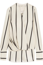 Max wrap-effect striped silk blouse