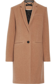 Rag & bone Emmet Crombie leather-trimmed wool-blend coat