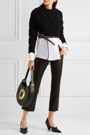 J Brand Selena cropped stretch-leather flared pants