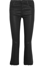 J Brand Selena cropped coated mid-rise bootcut jeans