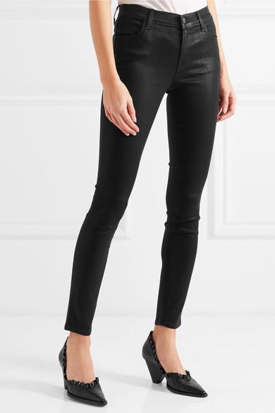 J Brand 620 Super Skinny Coated Mid Rise Jeans Net A