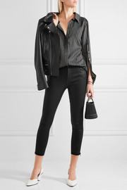 J Brand Alana coated high-rise skinny jeans