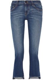 J Brand Selena distressed cropped mid-rise bootcut jeans
