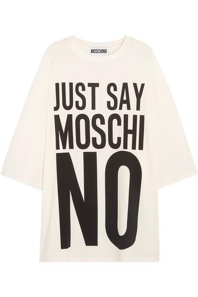 Moschino - Oversized Printed Cotton-jersey T-shirt Dress - White