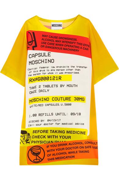 Moschino - Oversized Printed Jersey T-shirt Dress - Yellow