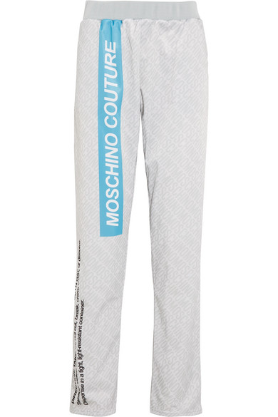 Moschino - Printed Jersey Track Pants - Gray