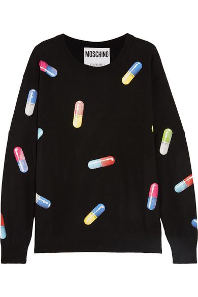 Moschino - Printed Wool Sweater - Black