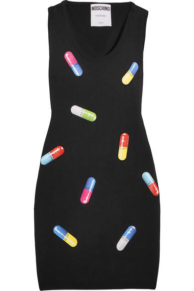 Moschino - Printed Wool Mini Dress - Black