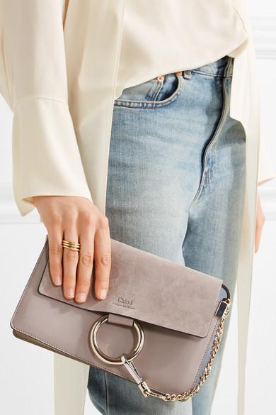 chlo faye small leather and suede shoulder bag net a porter com. Black Bedroom Furniture Sets. Home Design Ideas