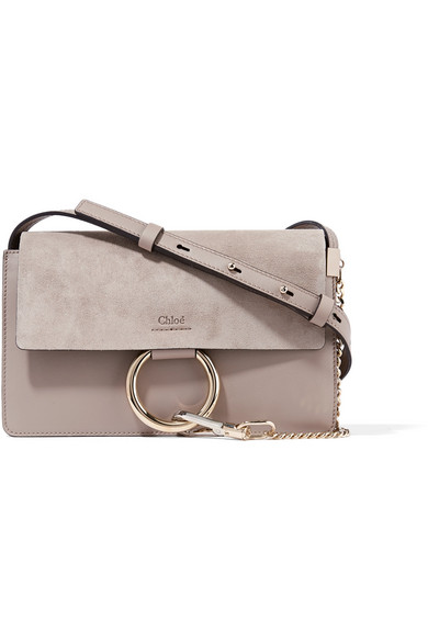 chloe female 123868 chloe faye small leather and suede shoulder bag gray