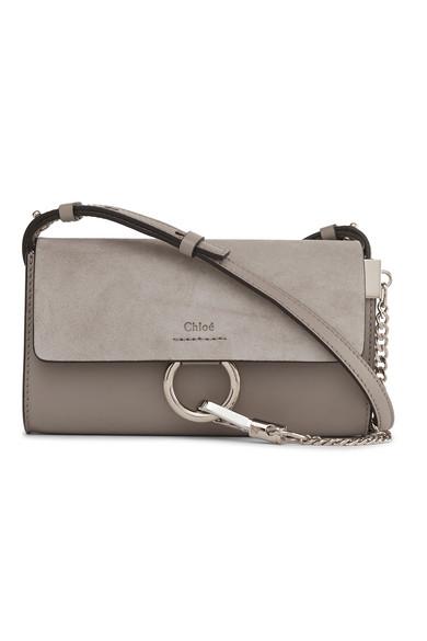 chloe female chloe faye mini leather and suede shoulder bag gray