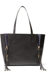 Milo medium suede-trimmed leather tote